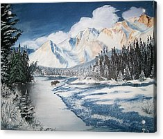 Acrylic Print featuring the painting Winter In The Canadian Rockies by Sharon Duguay