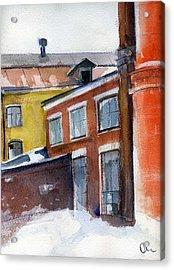 Winter In The City Acrylic Print by Lelia Sorokina