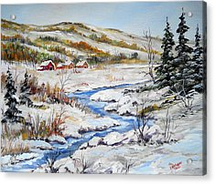 Winter In The Village Acrylic Print by Dorothy Maier
