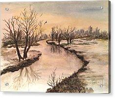 Winter Lake Scene Acrylic Print