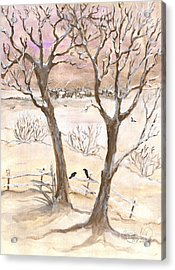 Winter Landscape Acrylic Print by Anna Folkartanna Maciejewska-Dyba