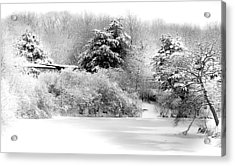 Winter Landscape Black And White Acrylic Print