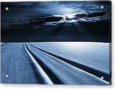 Winter Landscape In Moonlight Acrylic Print