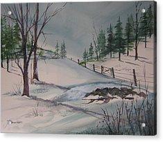 Winter Landscape Acrylic Print by John Smeulders