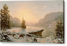 Winter Landscape Acrylic Print by Mortimer L Smith