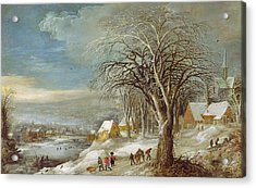 Winter Landscape Acrylic Print by Joos or Josse de The Younger Momper