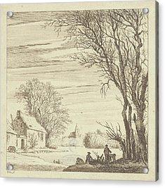 Winter Landscape, Paulus Van Liender, 1741 - 1797 Acrylic Print