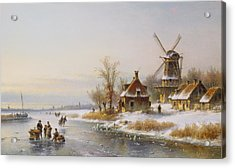 Winter Landscape With A Windmill, 19th Century Acrylic Print