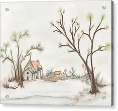 Winter Landscape With Cottage II Acrylic Print by Christine Corretti
