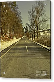 Winter-landscape With Country Road Acrylic Print