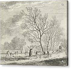 Winter Landscape With Cows And Skaters, Johannes Janson Acrylic Print