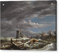Winter Landscape With Figures On A Path Acrylic Print by John Constable