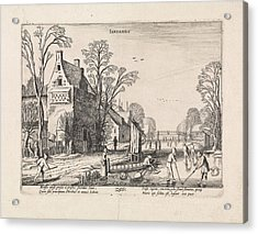 Winter Landscape With Flask Players On The Ice January Acrylic Print