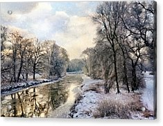 Winter Landscape With River Acrylic Print by Gynt