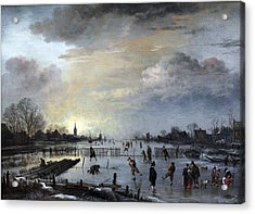Acrylic Print featuring the painting Winter Landscape With Skaters by Gianfranco Weiss