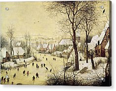 Winter Landscape With Skaters And A Bird Trap Acrylic Print by Pieter Bruegel the Elder