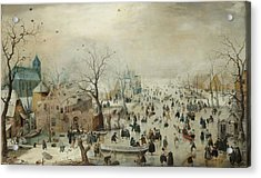 Winter Landscape With Skaters Acrylic Print by Hendrik Avercamp
