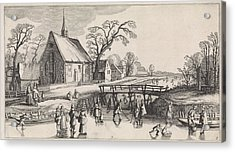 Winter Landscape With Skaters Near A Village Acrylic Print