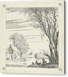 Winter Landscape With Skaters, Paulus Van Liender Acrylic Print