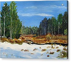 Winter Marsh In Hooksett Acrylic Print