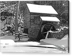 Winter Mill In Black And White Acrylic Print by Paul Ward