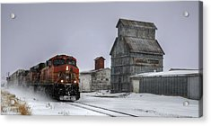 Winter Mixed Freight Through Castle Rock Acrylic Print