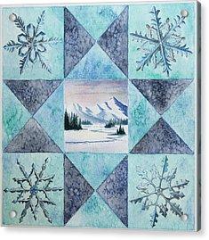 Winter Montana/ohio Square Acrylic Print by Gina Gahagan