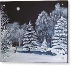 Winter Moonlight In The Country Acrylic Print