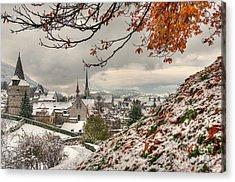 Winter Morning In Zug Acrylic Print by Caroline Pirskanen