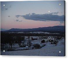 Winter Morning Moon Acrylic Print by Michael Wawrzyniec