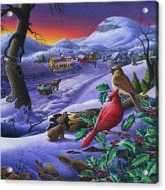Winter Mountain Landscape - Cardinals On Holly Bush - Small Town - Sleigh Ride - Square Format Acrylic Print by Walt Curlee
