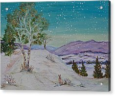 Winter Mountains With Hare Acrylic Print