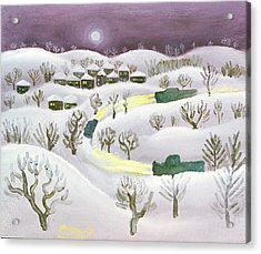 Winter Night, 1971 Oil On Canvas Acrylic Print by Radi Nedelchev
