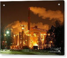 Winter Night At Sunila Pulp Mill Acrylic Print