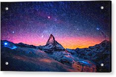 Winter Night High Peak Acrylic Print