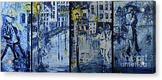 Winter Night In The City Acrylic Print by Roni Ruth Palmer