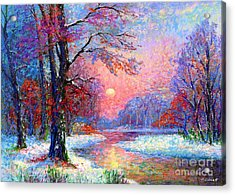 Winter Nightfall, Snow Scene  Acrylic Print by Jane Small