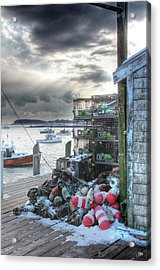 Winter On The Lobster Wharf Acrylic Print