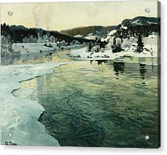Winter On The Mesna River Near Lillehammer Acrylic Print by Fritz Thaulow