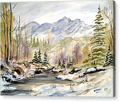 Acrylic Print featuring the painting Winter On The River by Dorothy Maier