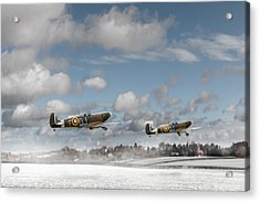 Winter Ops Spitfires Acrylic Print by Gary Eason