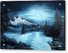 Winter Painting A La Bob Ross Acrylic Print by Bruno Santoro