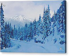 Acrylic Print featuring the painting Winter Road by Sophia Schmierer