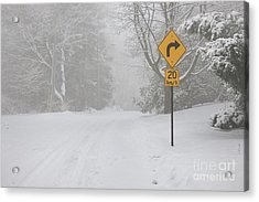 Winter Road With Yellow Sign Acrylic Print