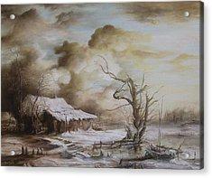 Winter Scene Acrylic Print by Dan Scurtu