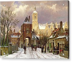 Winter Scene In Amsterdam Acrylic Print
