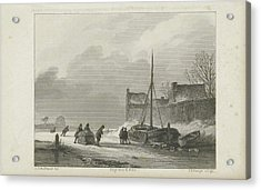 Winter Scene, Johannes Philippus Lange, Koenraad Fuhri Acrylic Print by Quint Lox