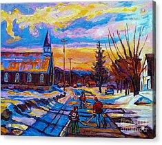Winter Scene Painting-hockey Game In The Village-rural Hockey Scene Acrylic Print by Carole Spandau
