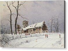 Winter Scene With Figures On A Path Near A Church Acrylic Print by Nils Hans Christiansen