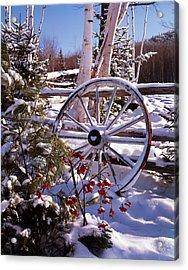 Winter Scenic Wagon Wheel Leaning Acrylic Print